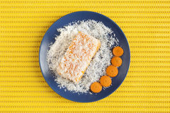 Carrot and coconut cake on yellow surface. Piece of carrot and coconut cake cover with grated coconut in a blue plate with some carrot slices on a yellow plastic Royalty Free Stock Photo