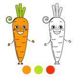 Carrot. Coloring book page. Stock Photo