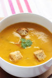 Carrot and coriander soup Stock Photo