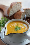 Carrot and coriander soup royalty free stock images