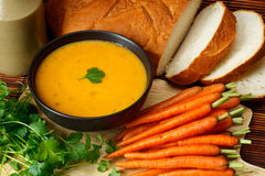 Carrot and coriander soup Royalty Free Stock Photography