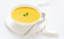Carrot and Coriander Soup of the Day Royalty Free Stock Image
