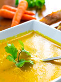 Carrot and coriander soup. Stock Image