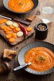 Carrot cream soup Stock Photos