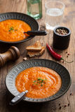 Carrot cream soup Stock Photo