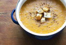 Carrot cream soup Royalty Free Stock Photography