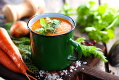 Carrot cream soup Royalty Free Stock Images