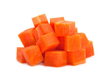 Carrot cube on white Stock Photos