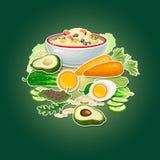 Carrot, cucumber, avocado, egg, porridge and salad. Stock Photo