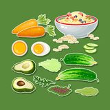 Carrot, cucumber, avocado, egg, porridge and salad. Royalty Free Stock Images