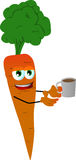 Carrot with a cup of coffee Stock Images