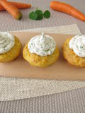 Carrot cupcake with herb cream cheese Stock Photography