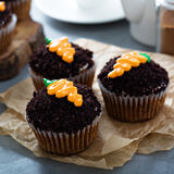 Carrot cupcakes with chocolate crumbs and frosting. Carrot cupcakes with chocolate crumbs and cream cheese frosting Stock Photo