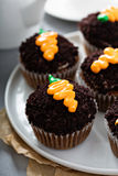 Carrot cupcakes with chocolate crumbs and frosting. Carrot cupcakes with chocolate crumbs and cream cheese frosting Royalty Free Stock Photos