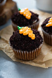 Carrot cupcakes with chocolate crumbs and frosting. Carrot cupcakes with chocolate crumbs and cream cheese frosting Royalty Free Stock Photography