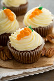 Carrot cupcakes with cream cheese frosting. And decoration Stock Photography