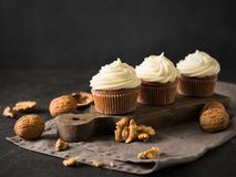 Carrot cupcakes or muffins with nuts on dark background. Copy space Stock Photography