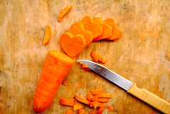 Carrot cut in heart-shaped Stock Photography