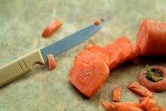 Carrot cut in heart-shaped Stock Photos
