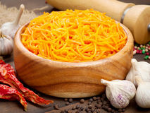 Carrot cut in julienne, salad Royalty Free Stock Images