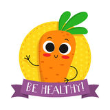 Carrot, cute vegetable vector character badge Stock Photo
