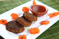 Gajar ka Aluchap, Carrot Cutlet, Manjal mullangi Cutlet royalty free stock photos