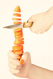 Carrot cutting Stock Image