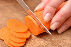 Free Carrot Cutting. Female Hands With A Knife Chop The Carrots On A Cutting Board. Close-up Stock Image - 168304421