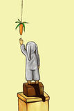 Carrot dream. Little kid in a grey costume trying to reach out for a suspended carrot Royalty Free Stock Photo