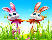 Carrot with easter bunny. 3d rendered illustration of carrot with easter bunny Stock Photography