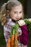 Carrot Farming Child. A young girl with a fresh cluster of carrots Royalty Free Stock Images
