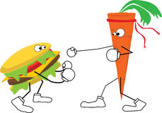 Carrot fights hamburger Royalty Free Stock Photography
