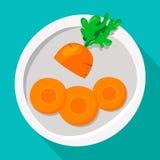 Sliced carrots on a plate. Vector illustration of a flat style. Sliced carrots on a plate. Vector illustration stock illustration