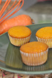 Carrot flavor cupcakes. Closeup of carrot flavor cupcakes on a plate Stock Images