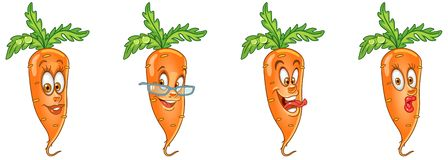Carrot. Food Emoji Emoticon collection stock photography