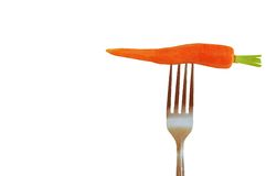 Carrot on fork Stock Photography