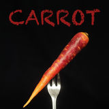 Carrot on a fork Royalty Free Stock Images