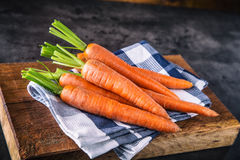 Carrot. Fresh Carrots bunch. Baby carrots. Raw fresh organic orange carrots. Healthy vegan vegetable food Royalty Free Stock Photo