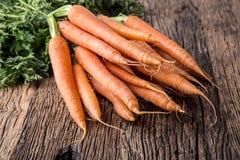 Carrot. Fresh Carrots bunch. Baby carrots. Raw fresh organic orange carrots. Healthy vegan vegetable food Stock Images