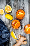 Carrot ginger immune boosting, anti inflammatory lemonade with turmeric and honey. Detox drink. Carrot ginger immune boosting, anti inflammatory lemonade with Stock Photos