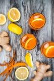 Carrot ginger immune boosting, anti inflammatory lemonade with turmeric and honey. Detox drink Royalty Free Stock Image