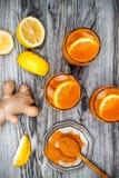 Carrot ginger immune boosting, anti inflammatory lemonade with turmeric and honey. Detox drink Stock Photo
