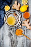 Carrot ginger immune boosting, anti inflammatory smoothie with turmeric and honey. Detox drink Stock Images