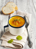 Carrot and ginger soup with red lentils Stock Images
