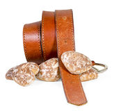 Carrot and gingerbread. The belt and gingerbread isolated on white background Royalty Free Stock Photo
