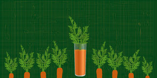 Carrot in a glass in the bed garden. On a green background Stock Photos