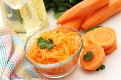 Carrot in a glass cup Royalty Free Stock Photography