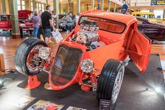 Carrot gold hot rod coupe car. At Victorian Hot Rod & Cool Rides Show in Melbourne, Australia Royalty Free Stock Image