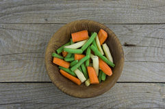 Carrot, green beans on the table Stock Photos