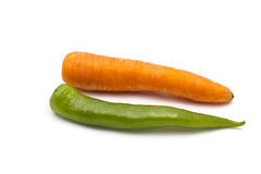 Carrot and green chilli Royalty Free Stock Photos